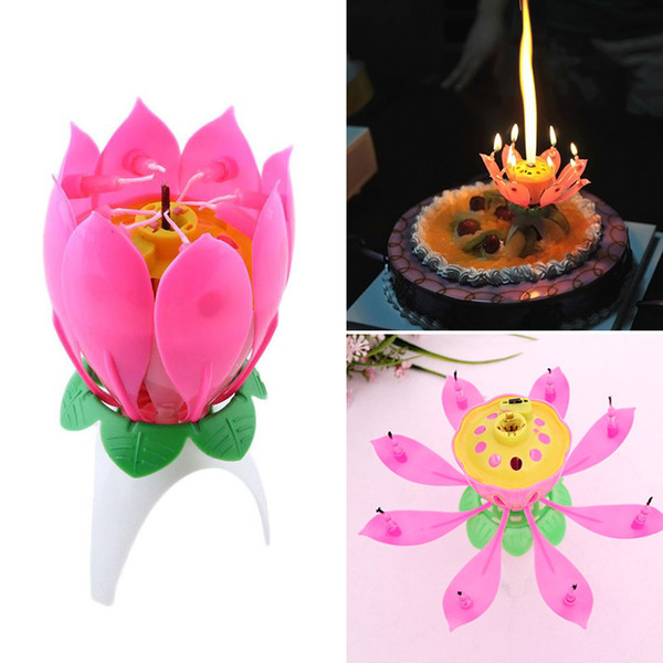 top popular Lotus Flower Candle Single-layer Music Candle Lotus Candles Birthday Candle Party Cake Music Sparkle Cake candles 2021