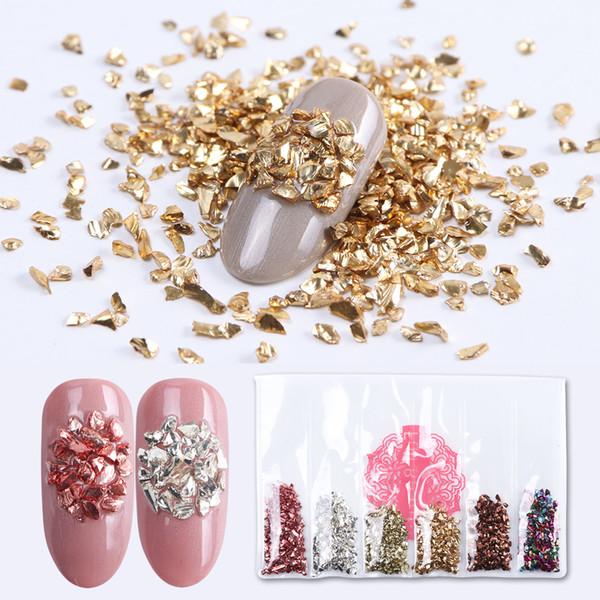 6 Colors Rose Gold Broken Glass Nail Stones Chrome Glitter White Nail Rhinestones Gems Shiny 3D Manicure DIY Decorations LA6BLB
