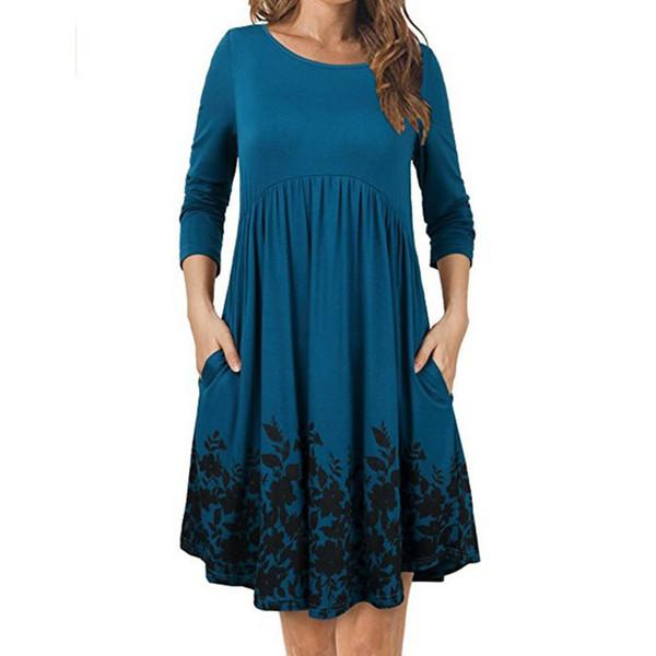Abito a maniche lunghe per maternità O-Collo Stampa Gravidas Vestidos per le donne incinte Abiti Lady Abiti gravidanza Abito autunno 2019