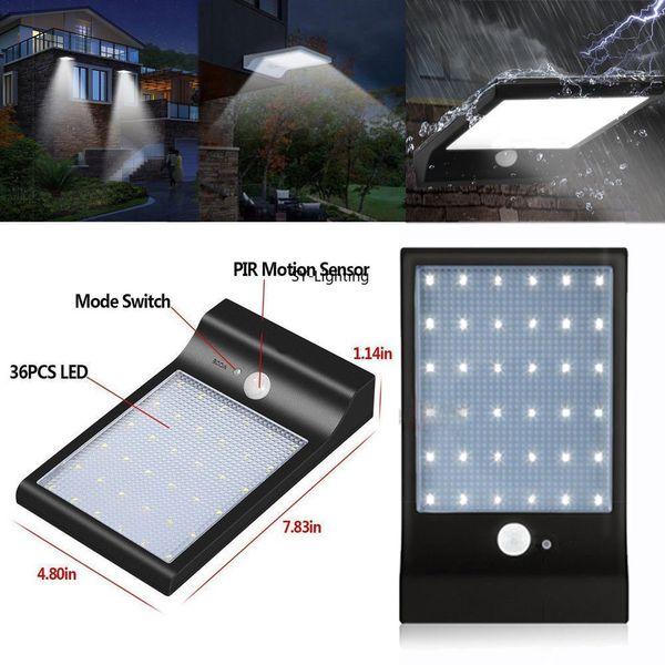 1 adet siyah açık işık 36-led güneş motion aktif sensör su geçirmez güvenlik ampul lamba aydınlatma