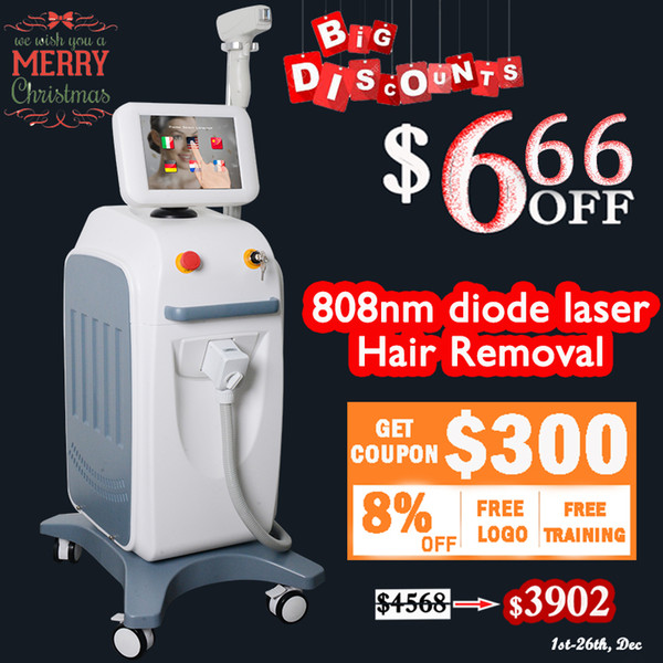 Free shipment 808nm Diode Laser Hair Removal Permenent Hair Remove Beauty machine Lumenis LightSheer Diode machines