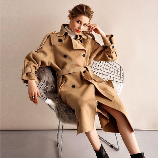 Europa Moda coreana 2018 Otoño Invierno High End Lana de doble cara Cachemira Mujer Chaqueta larga Abrigo Talla grande Abrigo femenino