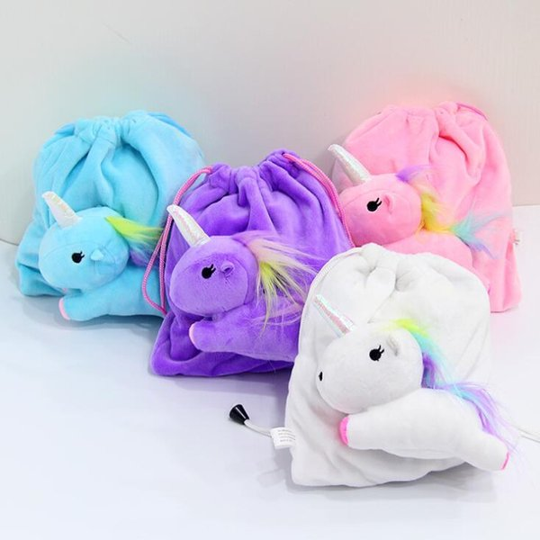 Unicorn Plush Drawstring Bag Lovely Soft Stuffed Animal Dolls Children Coin Purse Bags Kids Storage Bags LJJO6385