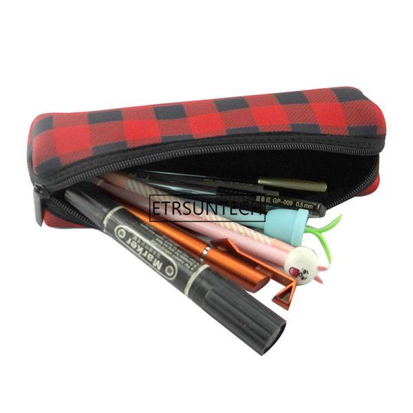 100pcs/lot Christmas decoration Red Plaid Makeup Bag Wholesale Blanks Buffalo Check Cosmetic Bag Long Size