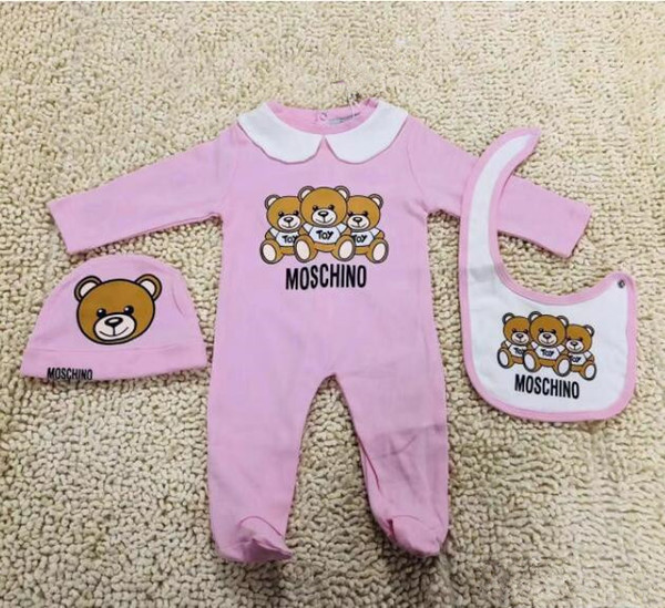 best selling Cute Baby Clothes Fashion Newborn Infant Baby Boys Letter Romper baby girl Jumpsuits bibs Cap Outfits Set