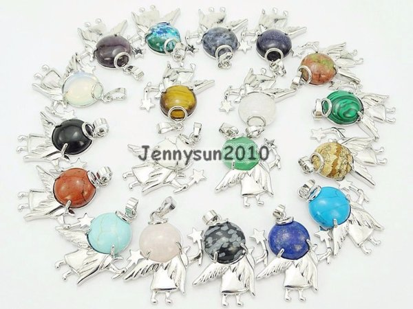 Natural Gems Stone Reiki Chakra Round Angel Wing Healing Pendant Charm Beads Silver Plated Jewelry Design 10Pcs/Pack