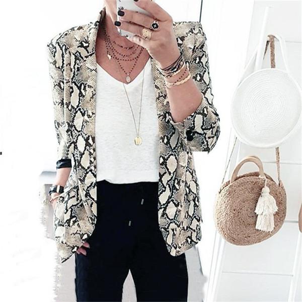 New Style 2019 Fashion Winter Woman Open Stitch Jackets High Street Long Sleeve Turu-down Collar Snake Print Outwear J190403