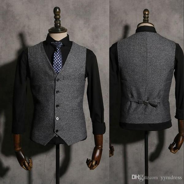 2019 Vintage Gary Groom Vests Wool Herringbone tweed Vest British style Men's suit tailor slim fit Blazer wedding Waistcoat for men