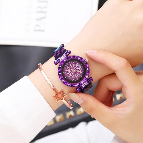 Donna Fiore signore orologi di moda orologio da polso di lusso strass casual al quarzo in acciaio inox orologio da polso Abito femminile Clock
