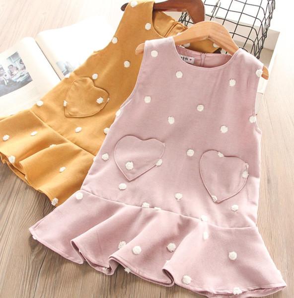 2019 Queda novas Meninas vestidos crianças bolinhas vestido de princesa crianças amor coração bolso falbala vestido meninas out vestir colete vestido F9325