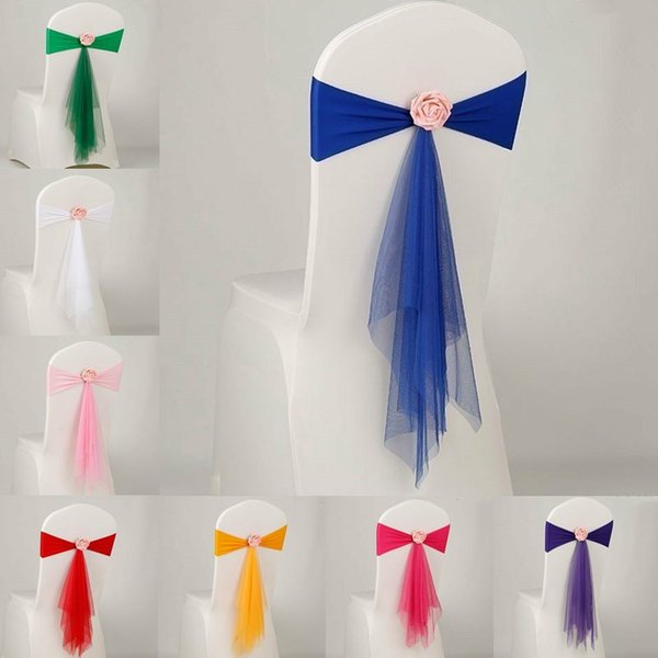 14 Colors Bowknot Designed Chair Ribbon No-tie Bow Sash Wedding Birthday Banquet Seat Cover Back Decorations