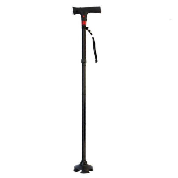 Smart LED Light Old Man Folding Trekking Poles T-handle 4 Stents Anti-slid Aluminium Alloy Hiking Poles Cane Walking Stick