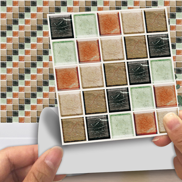 6шт / комплект Мозаика камень сгущает Водонепроницаемый стена ПВХ плитки наклейки Пил и пряника плитки Декаль Кухня Ванная комната Украшение Art Mural
