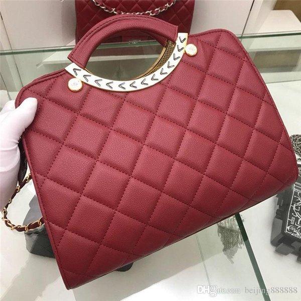 estilistabolsas de luxo bolsas Cadeia maneira CHANNEL acolchoado 2C Mão Bag bolsa vermelha de couro sacolas de alta qualidade