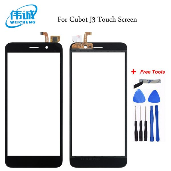 WEICHENG 100% tested 5.0 inch Mobile Phone Front Glass For Cubot J3 Touch Sreen Digitizer Panel With Tape Replacement