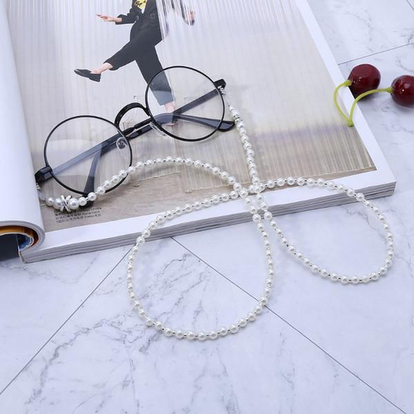 2019 perlas de imitación blanco con cuentas gafas gafas gafas de lectura titular de la cadena cordón cordón collar correa hecha a mano