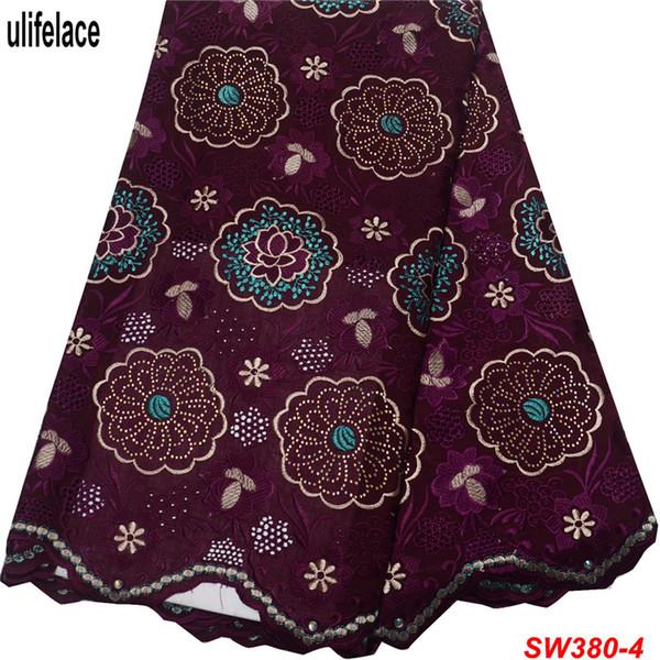 Merletto svizzero del voile in Svizzera di alta qualità colore viola profondo tessuti di cotone svizzero per tessuti di pizzo nigeriano per abiti SW-380