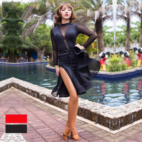2018 Yeni Latin Dans Elbise Kadınlar Uzun Kollu Buz Ipek Cha-Cha Rekabet Kostüm Lady Salsa Amerikan Dans Giysi Için DN1110