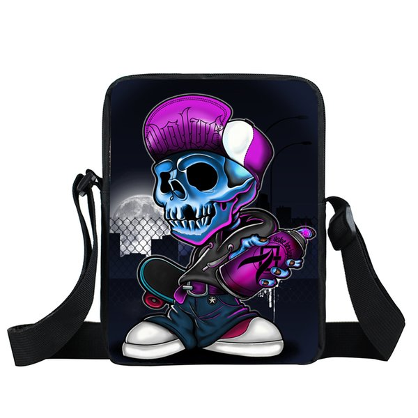 Skull Print Messenger Bag hip hop Women Handbag Street Rock Mini Shoulder Bags mini totes Kids Crossbody Bag Children bookbag