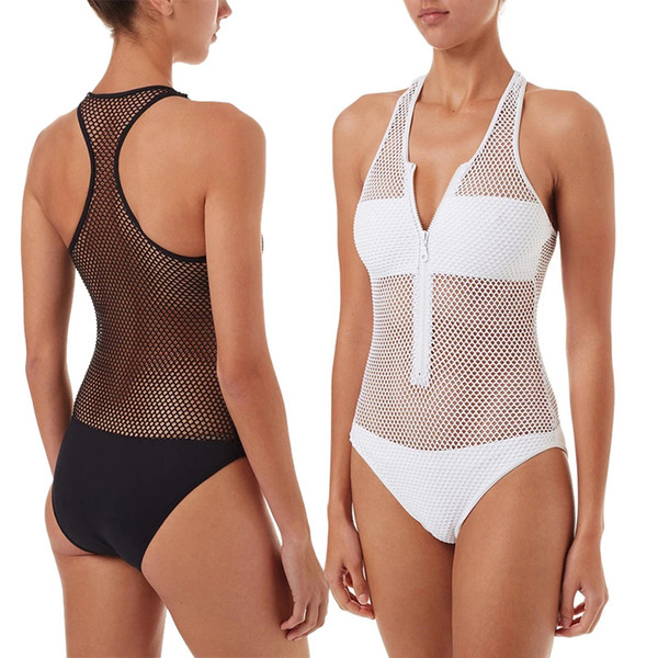 Sexy Mesh One Piece Swimsuit Women Swimwear Zipper Front Splicing Mesh Sheer Monokini Cut Out Bathing Suit Bodysuit Beachwear