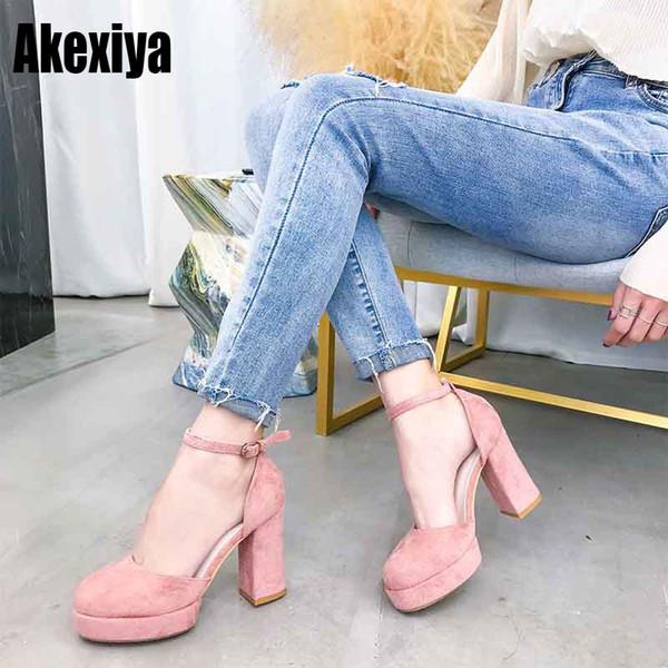 Designer Dress Shoes Sweet Platform Chunky Block Square Tacchi alti Donna punta rotonda Fibbia alla caviglia Office Lady Comfort 2019 il nuovo d354