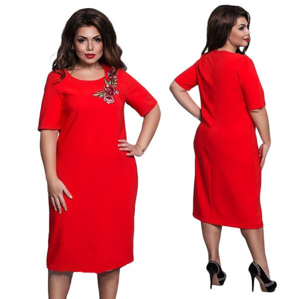 Elegante Bordado Vestidos 6XL Elegante Mulheres Primavera Verão Vestido de Festa Plus Size Midi Reta Vestido Plus Size Magro Vermelho