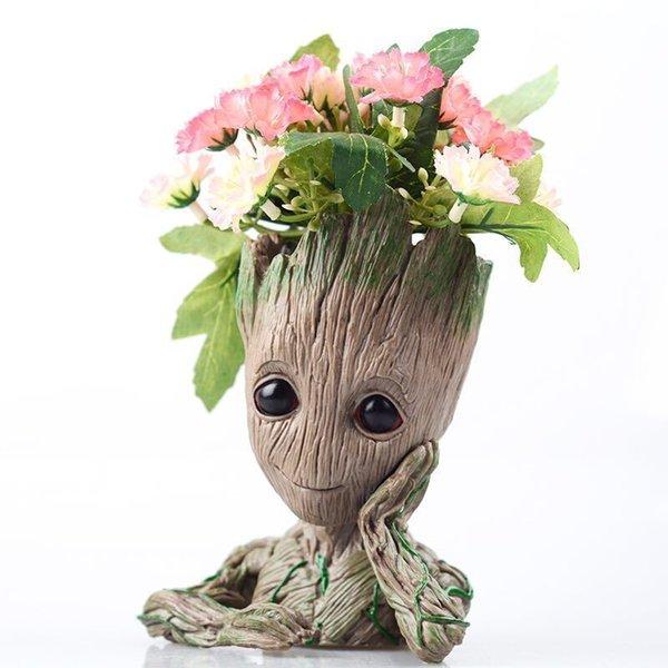Groot Planter Vases Pot Skull Vase Baby Groot Flower Pot Guardians Of The Galaxy 2 Model Pen Pot Kids Toy Antistress Tree Men