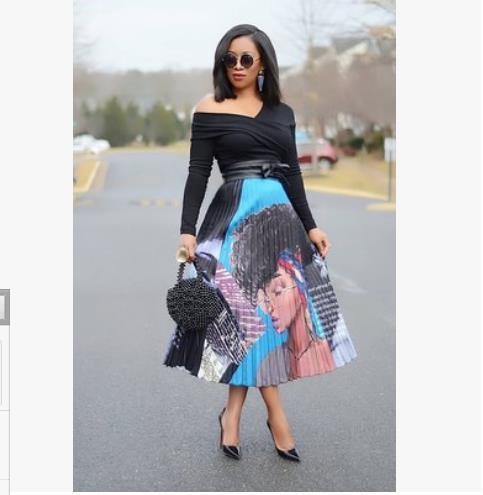 2019 afrikanische frauen tragen neue frauen retro karikaturdruck sexy hohe taille lange bein faltenrock aktive abnutzung casual rock 3 farbe