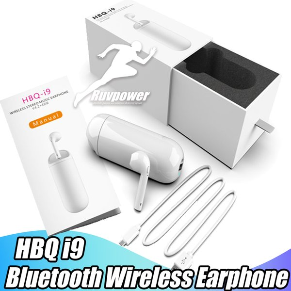 New arrival Original HBQ i9 Bluetooth Wireless Earbuds Stereo Earphone Portable Mini Power Bank earbud for iPhone X XS 8 Plus Samsung S9