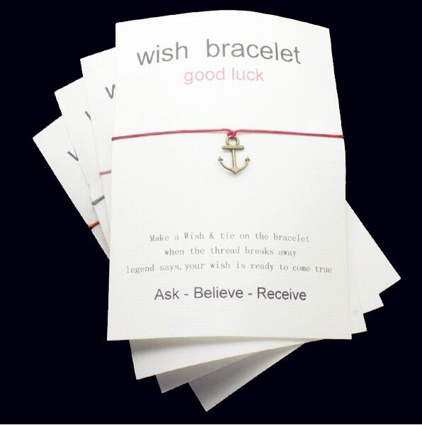 The newly listed pirate ship hook shape charm wax rope blessing card bracelet can be adjusted, which is the best gift card sent by friends