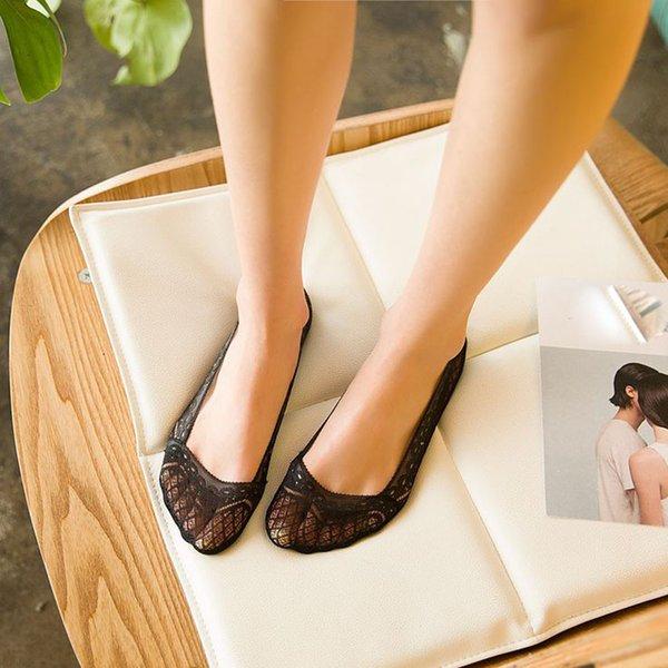 Kadın Yaz Pamuk Dantel Antiskid Görünmez Astar Lowcalcetines womencalcetin invisiblwomen pamuk çorap için mujer divertisocks