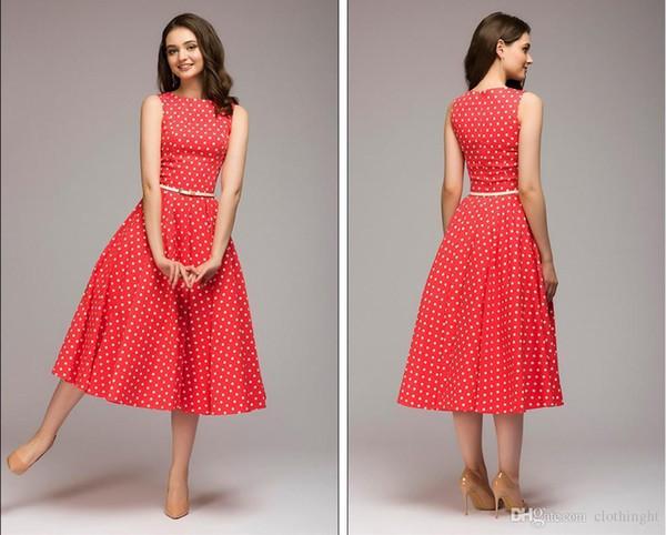 S. FLAVOR Vintage elbise 2018 Yaz Yeni kolsuz O-Boyun vestidos Kadınlar zarif ince nokta baskı Orta Buzağı gündelik elbise Kadın