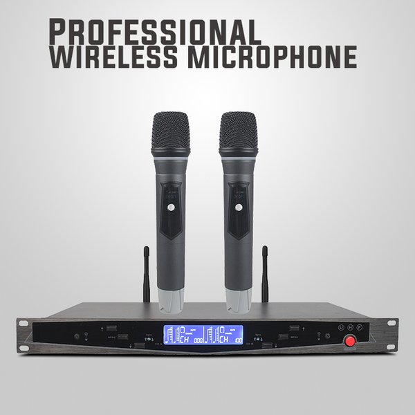 U-2015 Professional UHF Dual Wireless Microphone with PLL Digtal LCD Display for DVD TV Box Audio Mixer Computer speaker loudspeaker lecture