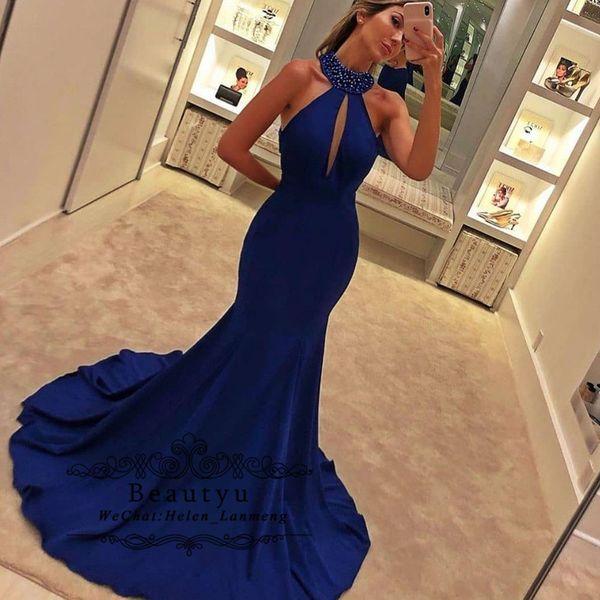 Royal Blue Mermaid Prom Dresses 2020 Beaded High Collar Backless Cut-out Long Formal Evening Gowns Vestidos de fiesta de noche