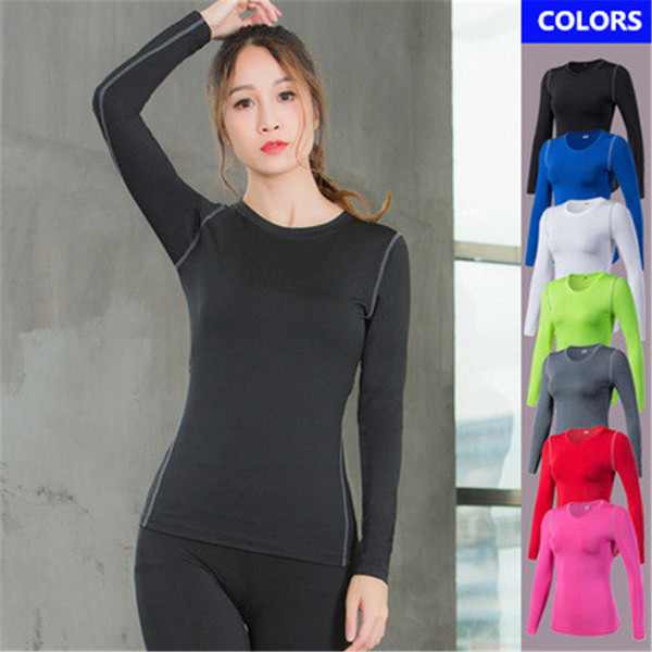 2019 New Brand Yoga t Shirt Women's Sportswear Sports Tights Suit Breathable Compression Gym Tops Clothes Female Long Sleeves Exercise shirt