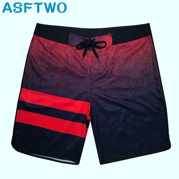 ASFTWO Short de surf en tissu élastique pour hommes Nouveau Short de planche à séchage rapide Trunks Homme Natation Sports nautiques en gros