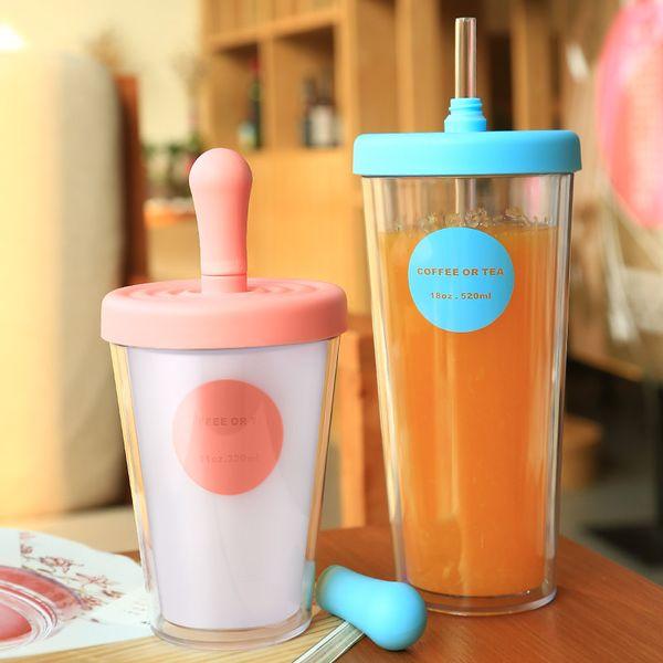 Tazas de café con pajitas para adultos Vaso de plástico ABS 320 / 520ml Alumnas coreanas Mate Lindo café o taza de café de doble pared