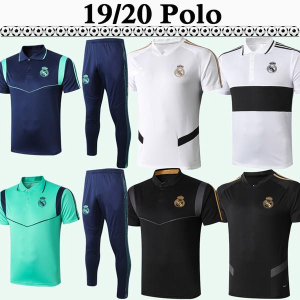 19 20 Реал Polo рубашки футбола Kit Новый Polo MARIANO Бензема Модрич MARCELO Красный Черный Серый Белый костюм Футбол Трикотажные брюки Top