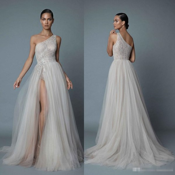 Berta 2019 One Shoulder Beach Wedding Dresses Sexy Lace Appliqued Beads A Line Side Split Bridal Gowns Plus Size vestido de novia