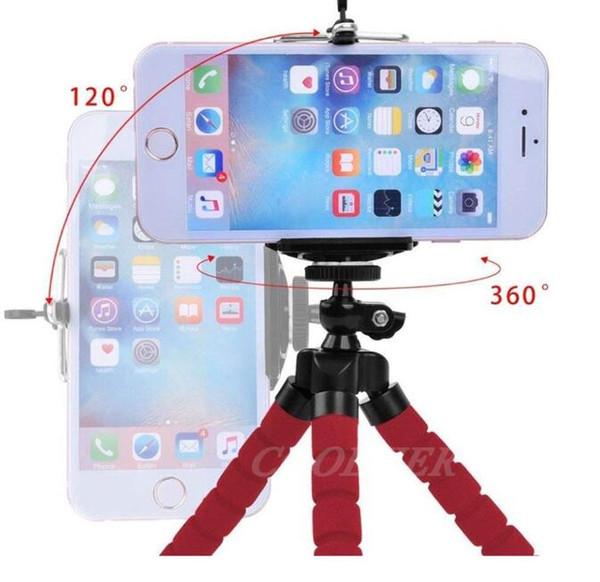 Bulk tripod Mini Flexible Tripod Sponge Octopus With Phone Clip For iPhone Xiaomi Huawei Smartphone Gopro Camera Accessory Tripod