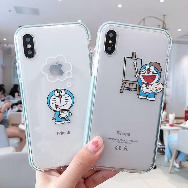 Robot del fumetto di modo gatto TPU caso trasparente del telefono per IPhone 11 pro max 11Pro X XS XR 8 8plus 7 7plus 6 6s Protect antidetonanti copertina