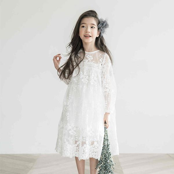 Compre 2018 Ropa Para Niñas Primavera Vestido Blanco De Manga Larga Vestido De Princesa Niños Vestidos Para Niñas Ropa Elegante Para Niños 12 Años