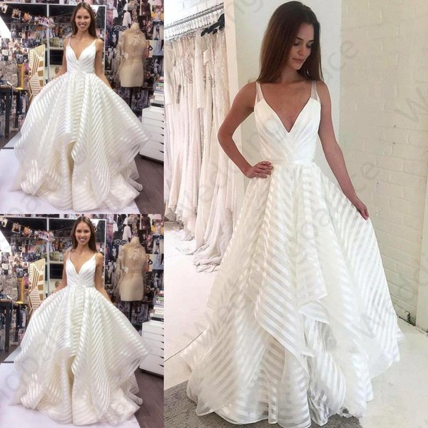 2019 Plus Size Summer Bohemian Wedding Dresses Ruffles A Line Deep V Neck Long Tulle Bride Boho Wedding Gowns Bride Dresses