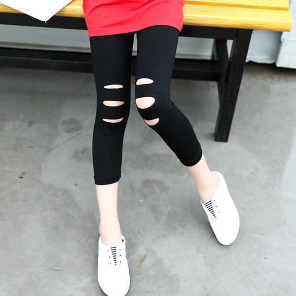 4 5 6 7 8 9 10 11 12 Yıl Kızlar Buzağı Uzunlukta Tayt Yaz Sıska Çocuklar Aktif Pantolon Kızlar için Pamuk Elastik Çocuk Pantolon