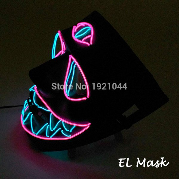 New Design Multicolor Three -Eyed Mask Glowing Product El Wire Neon Mask Scary Party Theme Cosplay Funny Series Masks