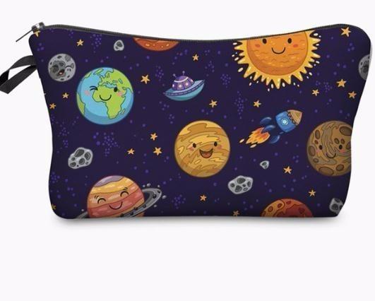 Who Space Planet, divertido, personaje, impresión, organizador de cosméticos, bolsa de maquillaje, bolsos, bolsos, señoras, mujeres, cosméticos