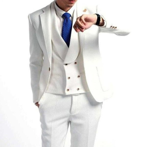 Tailor Made White Men Suits For Wedding 3Pieces Groom Prom Slim Fit Mens Suits Terno Masculino Blazer(Jacket+Pant+Vest+Tie)