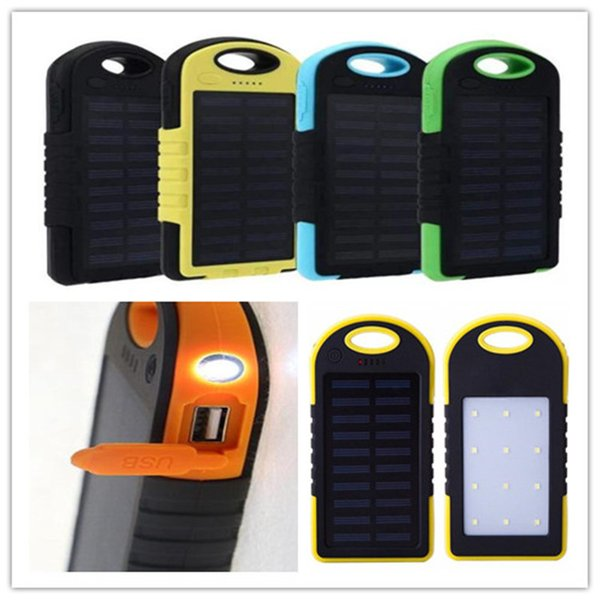5000mAh solar power Charger mobile power LED Camping Lamp Flashlight Dual USB Battery solar panel waterproof Portable bank for Cellphone