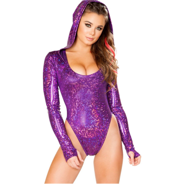 Europe and the United States explosion models women's sexy colorful laser hooded jumpsuit