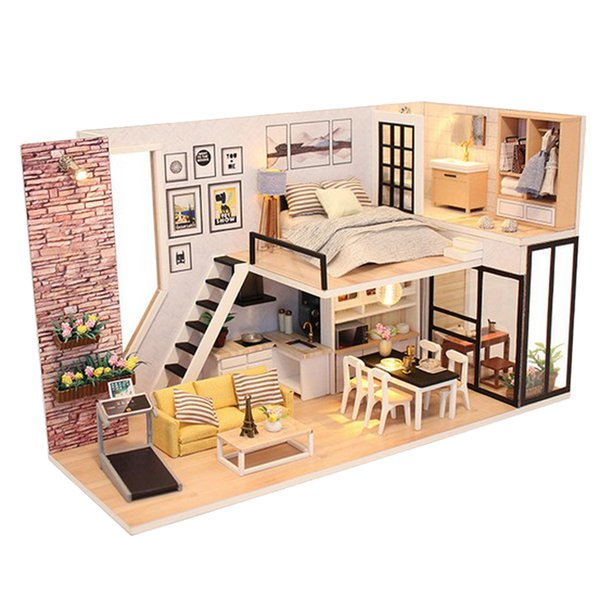 124 Diy Handcraft Miniature Project Wooden Dolls House Kids Gift Antique Duplex House Model Collections Large Dolls House For Sale Small Dollhouse